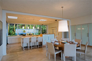 Dining area & kitchen in Hawaii Kai vacation home