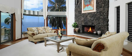 Living Room with huge ocean view windows
