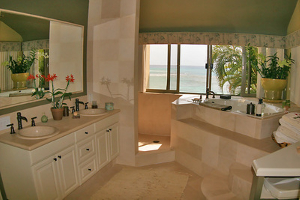 Master Bathroom looks out on ocean